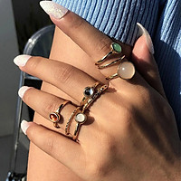 8 Pcs/set Alloy Ring Set Creative Joint Ring Cool Style Color Index Finger Ring Combination