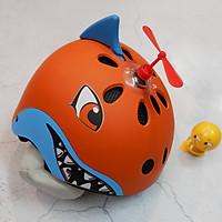 Mũ Bảo Hiểm Trẻ Em Nửa Đầu Shark + Kèm chong chóng + Tặng thú nhún Emoij vui nhộn cho bé