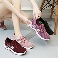 Giày lười vải nữ đi bộ - giày lười thể dục thể thao hoa cúc siêu êm đơn giản