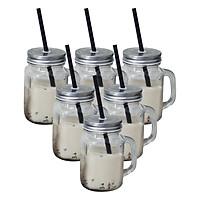 Bộ 6 Ly Thủy Tinh Có Quai Đựng Trà Sữa Camdaco (450ml) - Nắp Thiếc Màu Ngẫu Nhiên