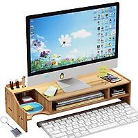 Kệ máy tính kệ sách kệ hồ sơ để bàn kèm cắm viết bằng gỗ 2 mẫu MỚI - Tặng kèm móc khóa khung hình thời trang