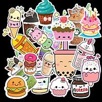 Sticker Food set 60 ảnh decal hình dán ép lụa đồ ăn trà sữa. kem, bánh
