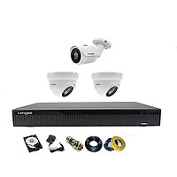 Camera Longse TVI 2.0MP 1080p bộ 3 mắt (Kim Loại) - Hàng chính hãng