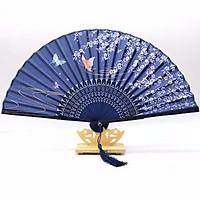 Quạt cổ trang hoa nhí điệp cận quạt trúc xếp cầm tay phong cách Trung Quốc in hoa trang trí