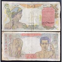 Tiền Xưa Đông Dương Việt Nam 100 Bạc Piastres Hình Quản Tượng Năm 1947-1954 [Tiền Cổ Xưa Sưu Tầm]