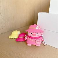 Ốp - Bao dành cho airpods 1/2 lợn hồng có thêm 3 mũ thay thế siêu tiện lợi