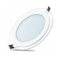 Bộ 04 Đèn LED ốp trần viền kính tròn 12w Thiên Mã (3 chế độ ánh sáng)
