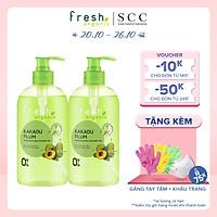 Combo 2 chai Gel tắm Fresh Organic Sáng da rạng rỡ chiết xuất Mận kakadu hữu cơ 500g