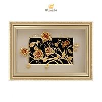 Tranh vườn hoa hồng dát vàng (40x60cm) MT Gold Art- Hàng chính hãng, trang trí nhà cửa, phòng làm việc, quà tặng sếp, đối tác, khách hàng, tân gia, khai trương