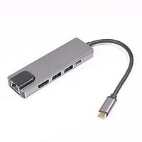 Hub đa năng Type C đến HDMI 5 trong 1 với đầu đọc thẻ đa chức năng Promax Giganit NIC RJ45 - Hàng nhập khẩu