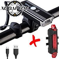 COMBO Đèn Còi Xe Đạp HJ062 Và Đèn Hậu  Sạc USB BS216