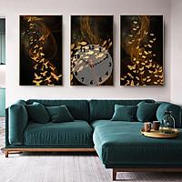 Tranh treo tường, tranh đồng hồ NT214 bộ 3 tấm ghép