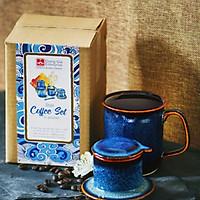 Bộ phin & cốc Cà phê- S3  Đông Gia xanh sóng biển 8094