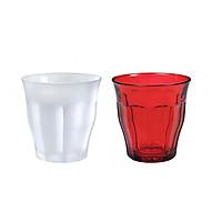 Bộ 2 ly thủy tinh cường lực Pháp Duralex  Picardie Mix color 250ml ( trắng sương + đỏ)