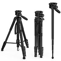 Andoer TTT-666R Camera Tripod Monopod Travel Portable Lightweight Tripod for Canon Nikon DV DSLR Camcorder with Carry