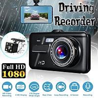 4inch HD 1080P Dual Camera Car Camera 170°+120° Wide Angle Dash Cam LED Fill Light Night Vision Car DVR G-Sensor Parking Monitor Driving Recorder