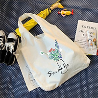 Túi tote vải canvas liền thân họa tiết đa dạng hot hit tặng quà xinh