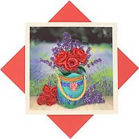 Thiệp Chúc Giấy Xoắn Thủ Công (Quilling Card) Bình Hoa Hồng & Lavender - Tặng Kèm Khung Giấy Để Bàn