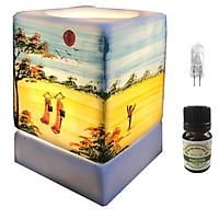 Đèn xông tinh dầu vuông VGOM01 và 1 chai tinh dầu bạc hà Eco oil 10ml cùng 1 bóng đèn