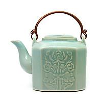 Ấm trà Lục giác trung  Đông Gia - - xanh ngọc Celadon 32.