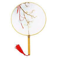 Quạt tròn cổ phong dải lụa Bạch Thiển quạt tròn cầm tay thiết kế độc đáo phong cách cổ trang cổ điển trang trí sáng tạo