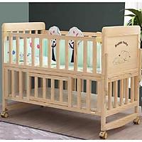 Cũi gỗ trẻ em, cũi 2 tầng làm nôi, ghép cạnh giường cha mẹ kích thước 105*60*90 gỗ thông. AKACHAN HONPO