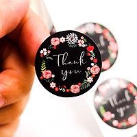 Sticker Thank You Floral nền đen - Cuộn băng keo tape cám ơn 500cái x 2.5cm