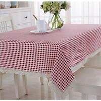 Khăn trải bàn canvas caro đỏ- viền ren xinh xắn - khăn trải bàn nhà hàng - khách sạn - bàn ăn  - phòng khách