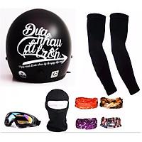 Bộ 1 nón 3/4 Đưa nhau đi trốn (Tem Trắng) + 1 mũ ninja + đôi bao tay + 1 kính phượt + 1 khăn phượt đa năng màu bất kỳ