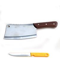Dao chặt xương inox cán gỗ cực bén cao cấp DX02 tặng dao gọt trái cây – Gia dụng bếp