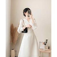 Váy Maxi trắng tay bồng siêu xinh
