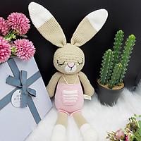 Gấu bông móc len Amigurumi cao cấp - Thỏ Bunny ngủ quần màu, quà tặng đồ chơi nhồi bông thỏ Bunny nổi tiếng cho bé