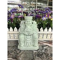 Tượng ông Thần Tài kim tiền cầm thỏi vàng kim nguyên bảo phong thủy mang lại may mắn tài lộc đá cẩm thạch trắng xanh đặt bàn thờ thần tài - Cao 15 cm