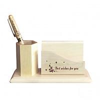 Ống đựng bút Best Wishes For You & Bút gỗ