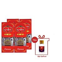 Nhụy Hoa Nghệ Tây Saffron Bahraman Combo 4 hộp 1gram/hộp Tặng 1gr bột Saffron