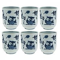 Combo 6 Cốc uống trà Nhật Bản hoạ tiết cổ điển hình Cú Mèo may mắn cao cấp EVAN- JB077