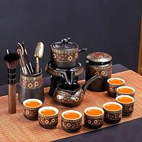 Bộ ấm chén pha trà cối xay đỏ vàng đen 16&14 món