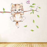 Decal dán tường MÈO ĐU CÂY trang trí phòng dễ thương