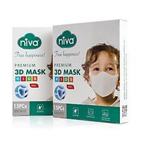 Hộp 15 chiếc khẩu trang Niva 3D Trẻ em 1-6 tuổi