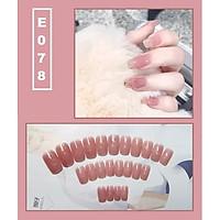 Bộ 24 móng tay giả nail thời trang họa tiết bắt mắt chống thấm nước (E078)