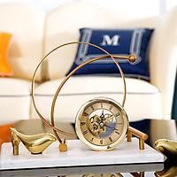 Đồng hồ để bàn hình tròn nghệ thuật mạ vàng sang trọng
