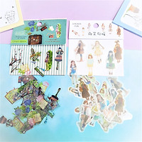 Combo 2 Bộ 32, 48 Sticker Hình Dán Mini Cô Gái Thời Trang Đi Du Lịch