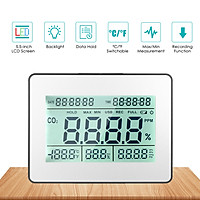 Carbon Dioxide Detector Air Quality Monitor Meter with Data Logging Clock Function 5.5-inch Large LCD Wall Mountable CO2