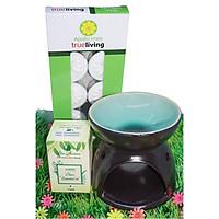 Combo đèn xông tinh dầu nến số 1 + tinh dầu sả chanh 10ml Bio Aroma tặng kèm 10 viên nến tealight (đèn giao màu ngẫu nhiên)