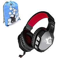 Tai nghe cho Game thủ Lupuss LPS-2008 (Đen phối đỏ) + tặng kèm Balo thời trang New4all siêu bền - Hàng Chính Hãng