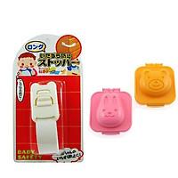 Combo khuôn tạo hình cơm, trứng hình gấu và thỏ + Khóa ngăn kéo, tủ lạnh trẻ em (mẫu mới) nội địa Nhật Bản