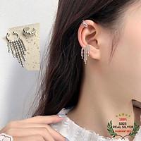 Bông Tai Bạc S925 Bộ 2 Ear Cuff Kẹp Vành Tua Rua & Khoen C Bất Đối Xứng Trẻ Trung Cá Tính | Khuyên Tai Nữ Trang Sức Bạc