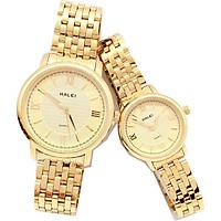 Cặp Đồng Hồ Nam Nữ Halei HL550 dây vàng (Tặng pin Nhật sẵn trong đồng hồ + Móc Khóa gỗ Đồng hồ 888 y hình + hộp chính hãng + thẻ bảo hành)