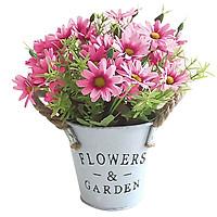 Hoa lụa, Chậu hoa cúc họa mi giả độc đáo để bàn làm việc, kệ sách, kệ tủ trang trí nội thất