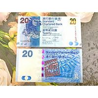 Tiền cổ Hông Kông 20 Dollar ngân hàng Standard Charter hình cá hóa rồng, mới 100% UNC, tặng túi nilon bảo quản